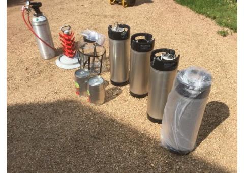 Beer making equipment. Kegs, etc