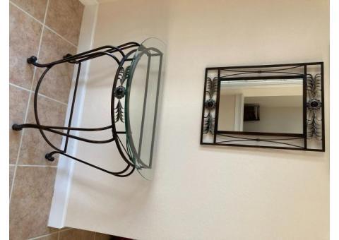 Glass Half Moon Table W/Matching Mirror
